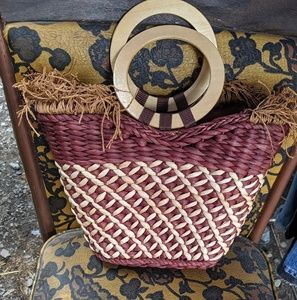 Handbags - Vintage Rattan bag With Wood handles